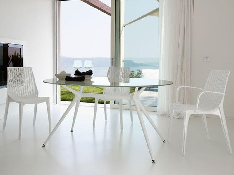 metropolis 2402 moderner metalltisch ovale glasplatte 112x150 cm verschiedene farben sediarreda. Black Bedroom Furniture Sets. Home Design Ideas
