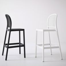 Panama S - Stool in metal and technopolymer, seat height of 75 cm, suitable for outdoor use, available in different colours