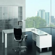 Office X7 02V - L-shaped executive desk for executive office, with drawers, in metal and laminate, with glass top, available in different dimensions and finishes