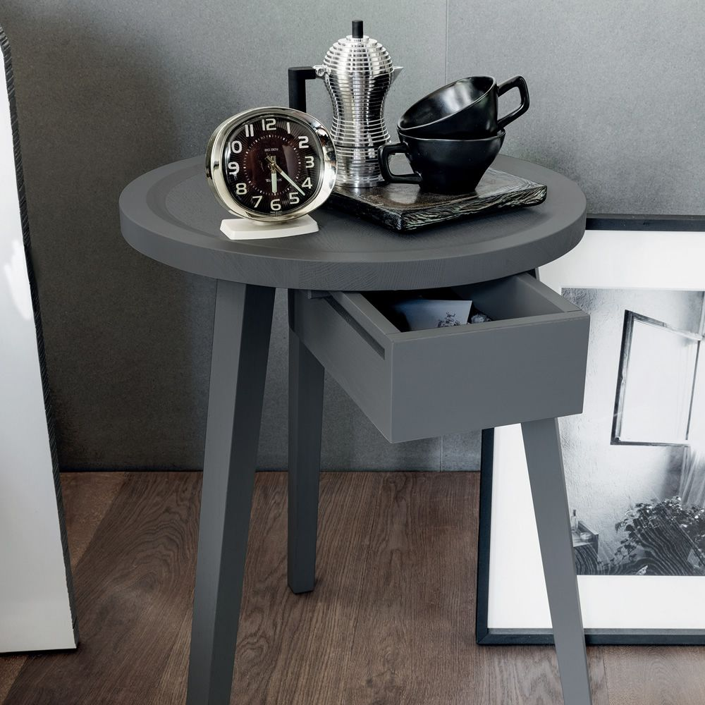 Grey Solid Wood Coffee Table: Gervasoni Side Table-bedside Table, In Solid