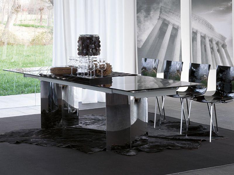 Manhattan a 8051 tavolo allungabile tonin casa in for Scrivanie in vetro e acciaio