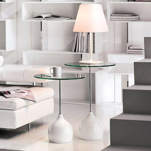 Adachi 8155 mesita tonin casa de metal y m rmol for Marmol color blanco