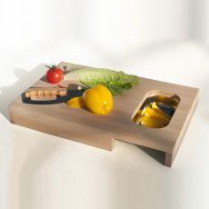 Chop - Tagliere in legno con vaschetta in acciaio inox