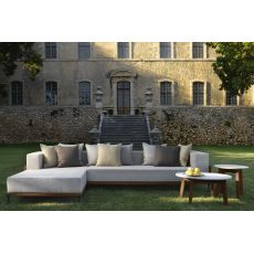 Cleo C - Sofa with chaise longue, removable covering, for garden