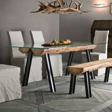 Anfide T - Fixed design table, with steel and wood structure, glass top, available in different sizes