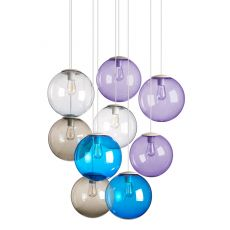 Spheremaker 9 - Pendant lamp Fatboy, with 9 spheres of coloured polycarbonate, LED bulb