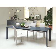 Apollo - Table à rallonge Midj en métal, plateau en bois, verre ou crystal céramique, en différentes finitions