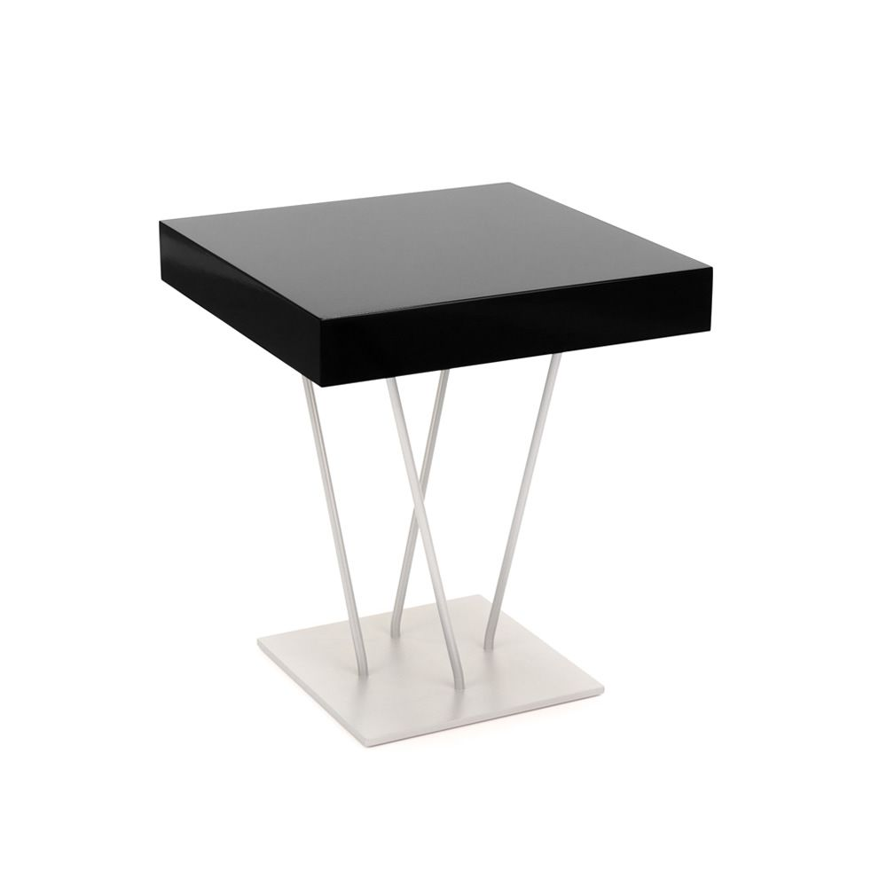 ginger bontempi casa design side table with structure in laquered steel and wooden top. Black Bedroom Furniture Sets. Home Design Ideas