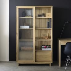 Wave-G - Ethnicraft wooden cabinet with glass sliding doors and drawers, different finishes available