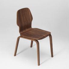 Fred - Chaise design en bois de chêne multiplis, empilable