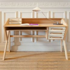 Origami - Ethinicraft wooden desk with MDF drawers, different colours available