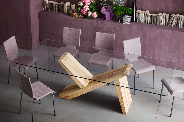 Akeo f tavolo di design in legno fisso con piano in for Tavolo in legno design