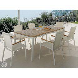 Timber t tavolo allungabile in alluminio e teak per for Scrivanie leroy merlin