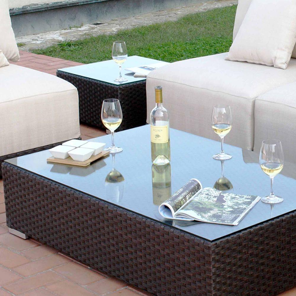Kit esterno 20 sedute modulari per giardino in alluminio - Tavolino esterno ...