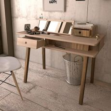Lei - Multifunctional wooden table, with foldaway storage and mirror into the top.