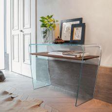 Altamura 6460 - Consolle Tonin Casa in vetro con mensola in legno o vetro, diverse finiture disponibili