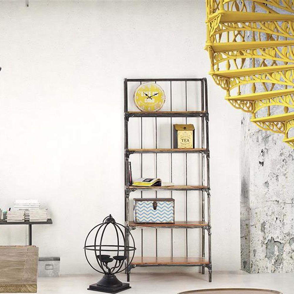accra shelf regal oder b cherregal industrial style aus metall mit einlegeb den aus holz. Black Bedroom Furniture Sets. Home Design Ideas