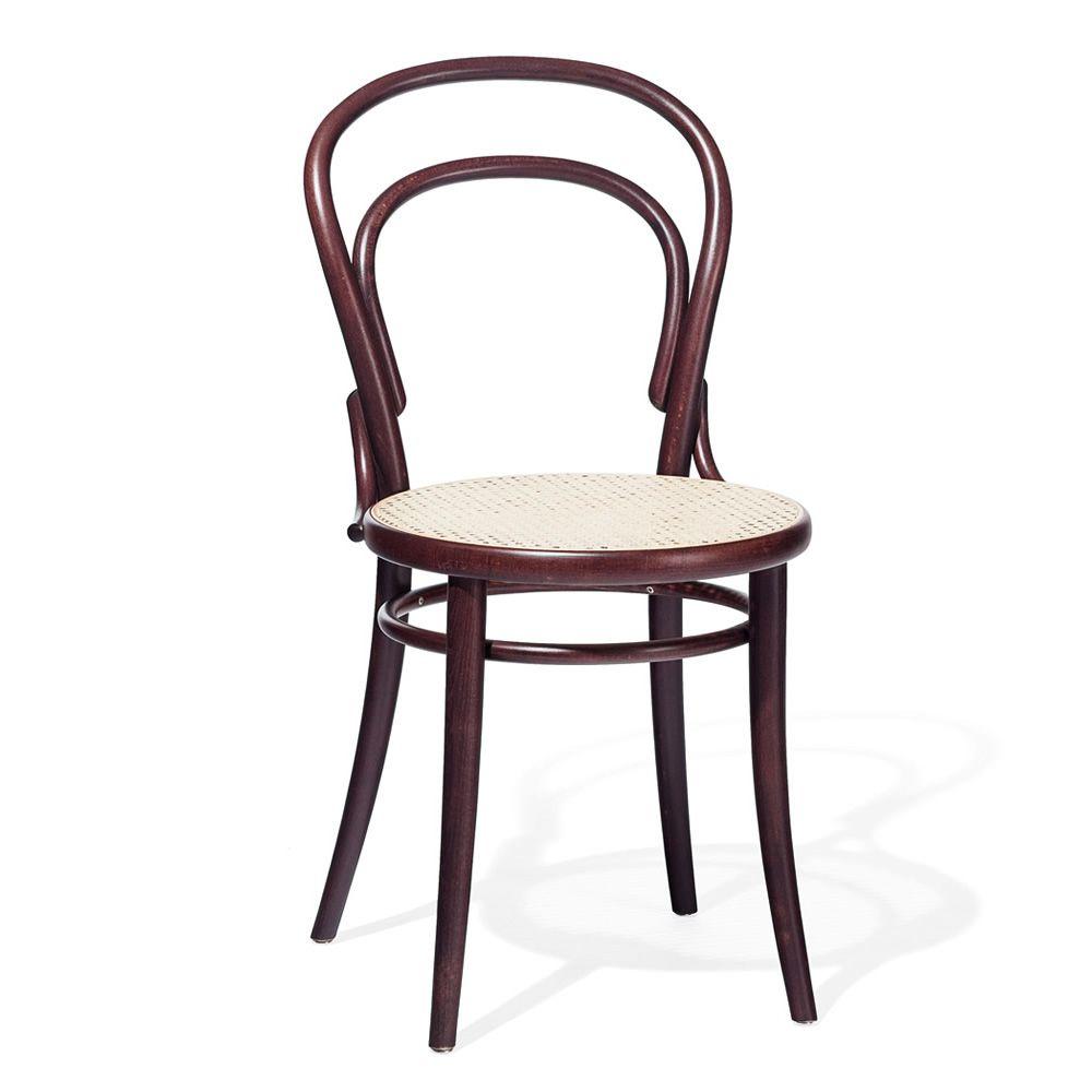 Chair 14 c sedia ton in legno curvato sedile in paglia for Sedia design marrone
