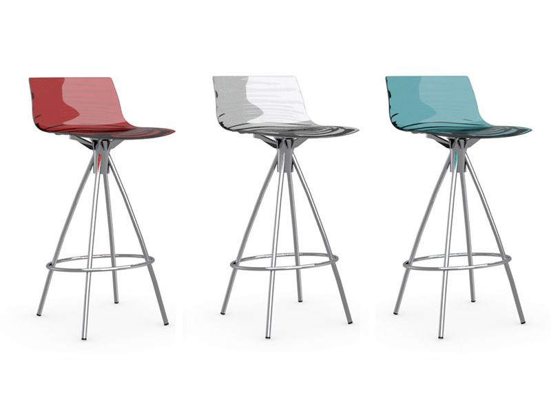 CB1269 Lu0027Eau   Metal Stool With SAN Seat, In Red, Transparent And ...