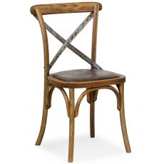 SE06 - Chaise viennoise en bois avec dossier croisé en fer, disponible avec différentes assises