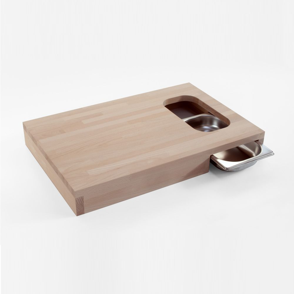 Chop Chopping Board Made Of Wood With Stainless Steel