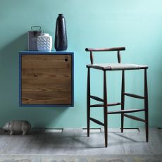 Pelleossa S - Miniforms stool in wood, with leather or fabric seat, seat height of 67 cm