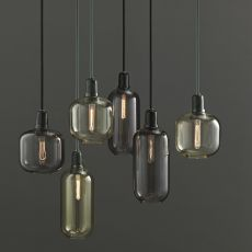 Amp - Lampe à suspension Normann Copenhagen en verre et douille en marbre, disponible en différentes couleurs et deux dimensions