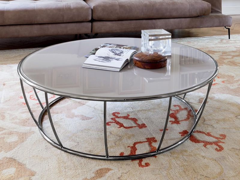 Amburgo 6287 table basse ronde tonin en m tal plateau en verre diam tre 100 - Table verre et metal ...