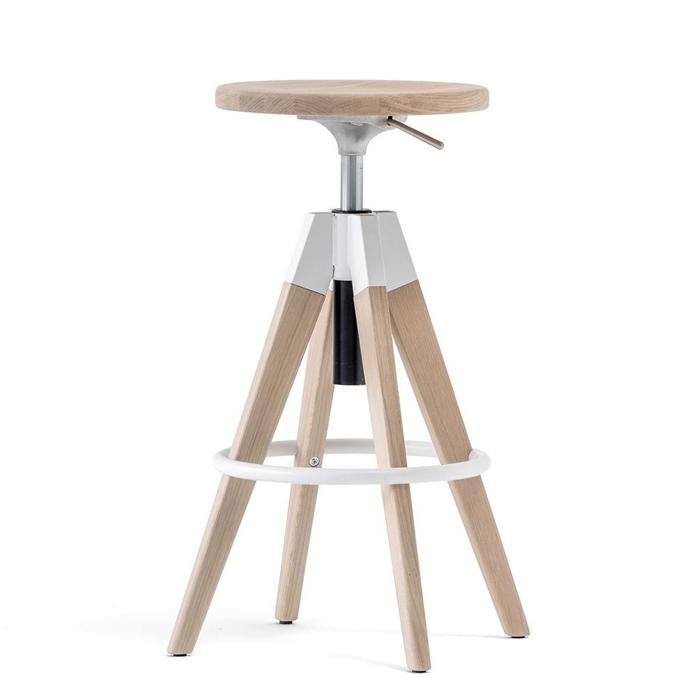 Arki stool sgabello pedrali in legno e metallo girevole for Sgabello bianco legno