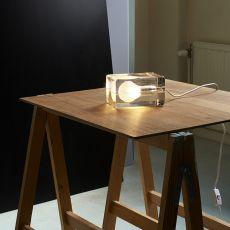 Block - Lámpara de mesa de design en cristal, LED, con cable de tejido blanco o negro