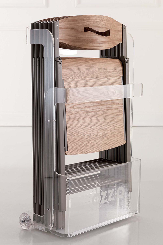 Favoloso Ripiego W - Sedia pieghevole moderna in metallo, seduta in legno  XK85