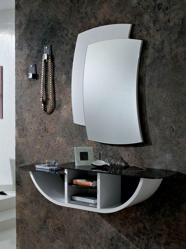 Pa164g meuble entr e avec miroir et crochets disponible for Meuble mural en verre