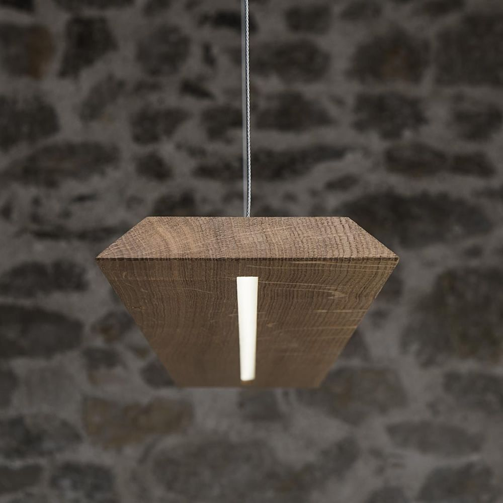 blade lampe suspension en bois massif de ch ne ruban led sediarreda. Black Bedroom Furniture Sets. Home Design Ideas