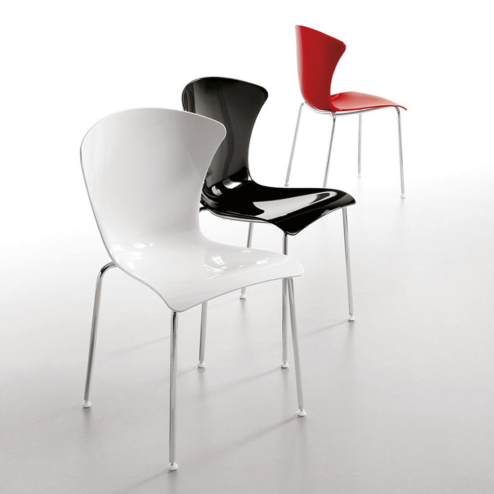 Glossy para bare y restaurantes silla apilable en metal asiento de policarbonato o con - Sillas en policarbonato ...