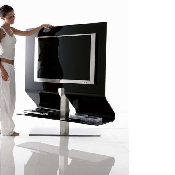 odeon mueble para tv de cristal negro con soporte central de acero inoxidable satinado