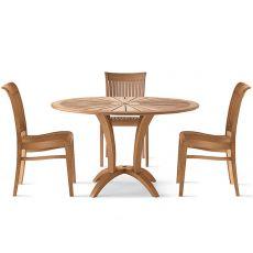 Eclypse - Tavolo in legno robinia, diametro 125 cm, per giardino, con vassoio girevole