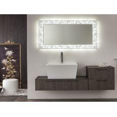City C - Miroir avec cadre lumineux en métal, à LED, disponible en différentes couleurs et dimensions