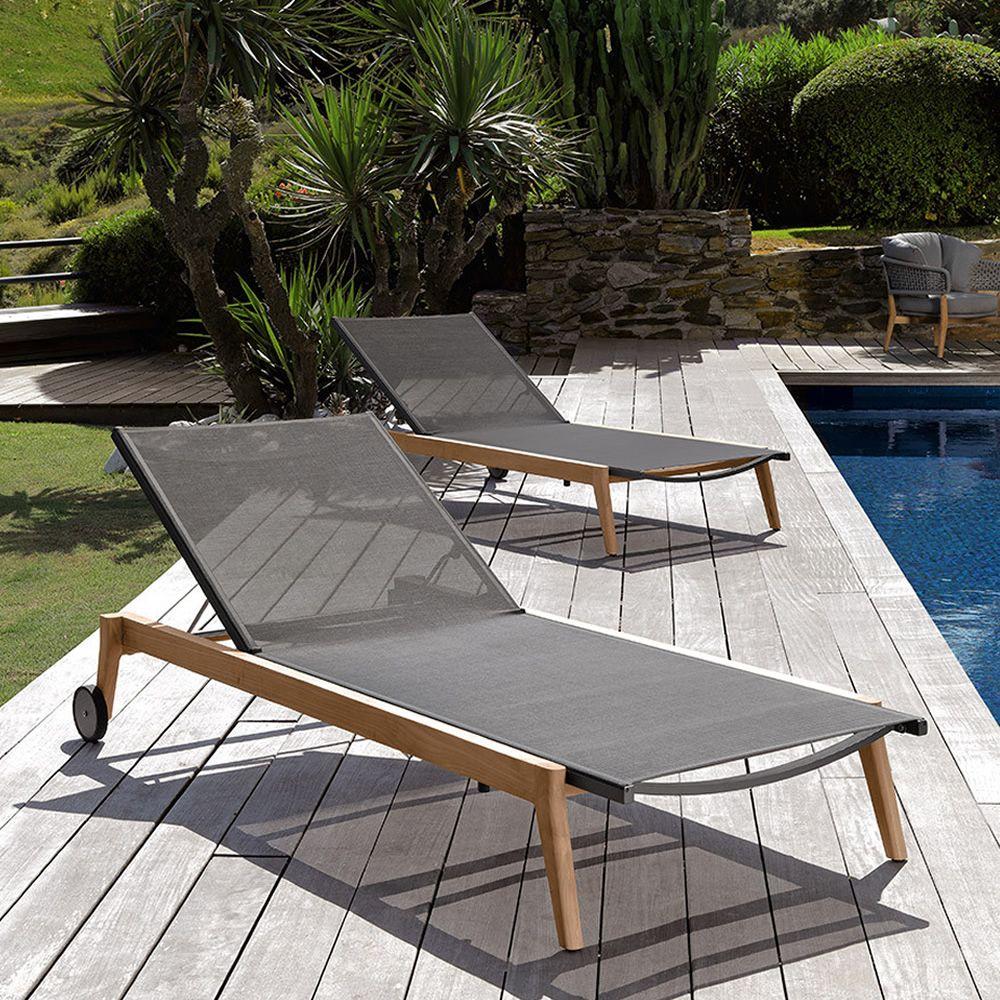 moon l bain de soleil moderne en teak et textil ne dossier r glable avec roulettes sediarreda. Black Bedroom Furniture Sets. Home Design Ideas