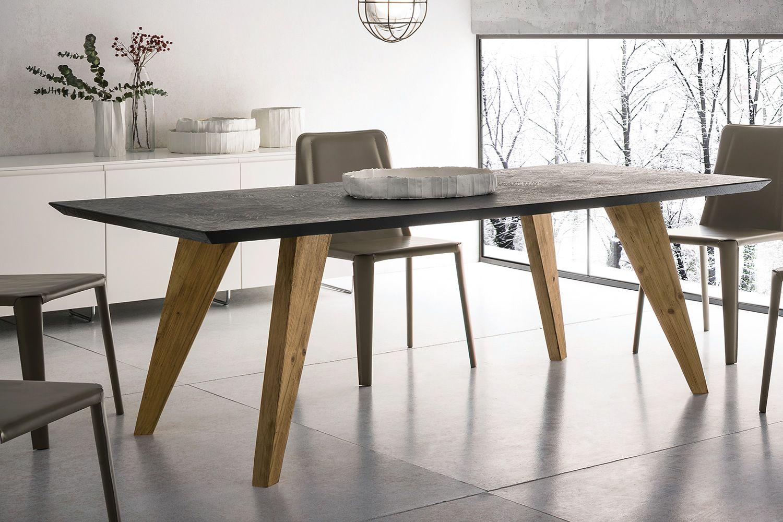 Artemidoro tavolo di design in legno 160x90 cm fisso for Gambe di legno