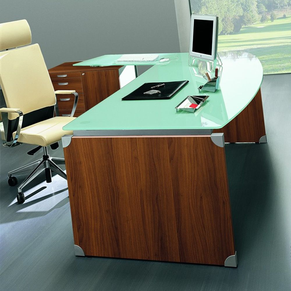 ... Time Work 06  Scrivania ufficio con piano in vetro, laminato ciliegio