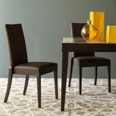 CB1243 Denmark - Silla apilable Connubia - Calligaris de madera, asiento acolchado y tapizado en símil piel