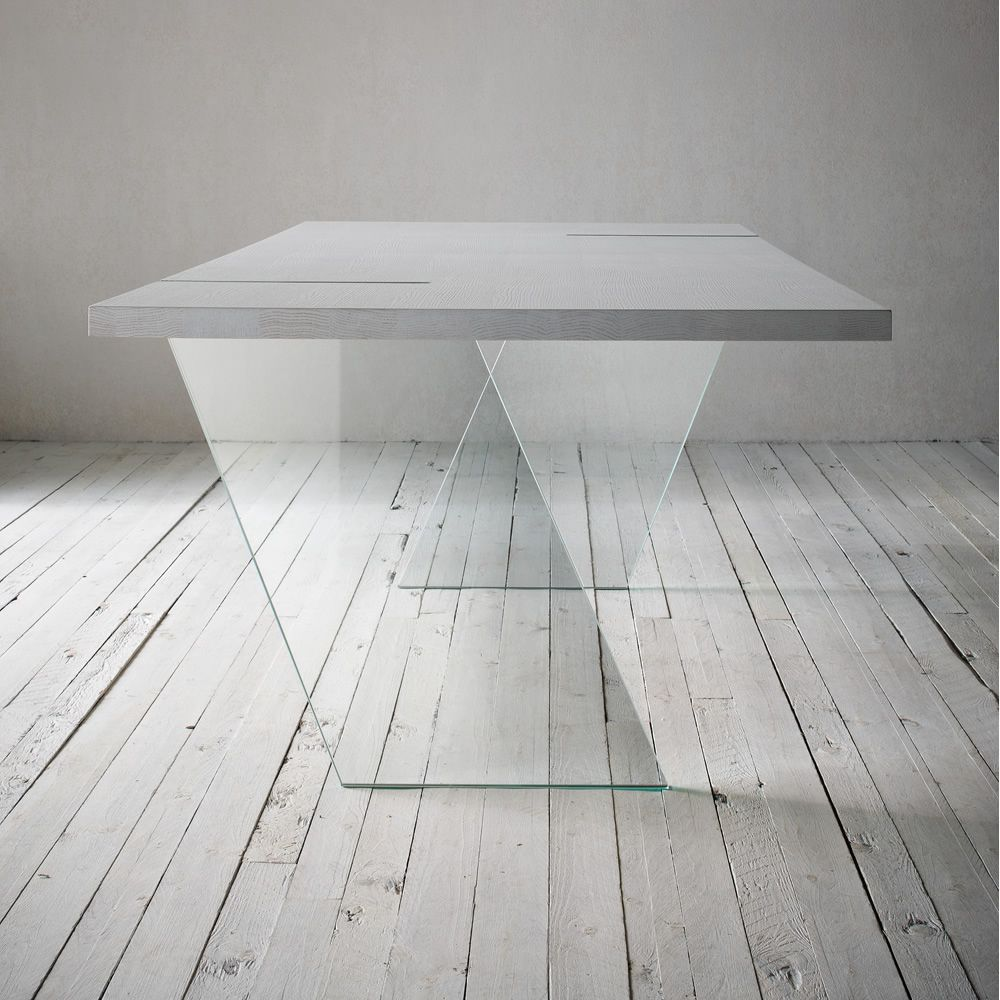 Alceo tavolo fisso di design 160x90 cm con gambe in for Tavolo design vetro