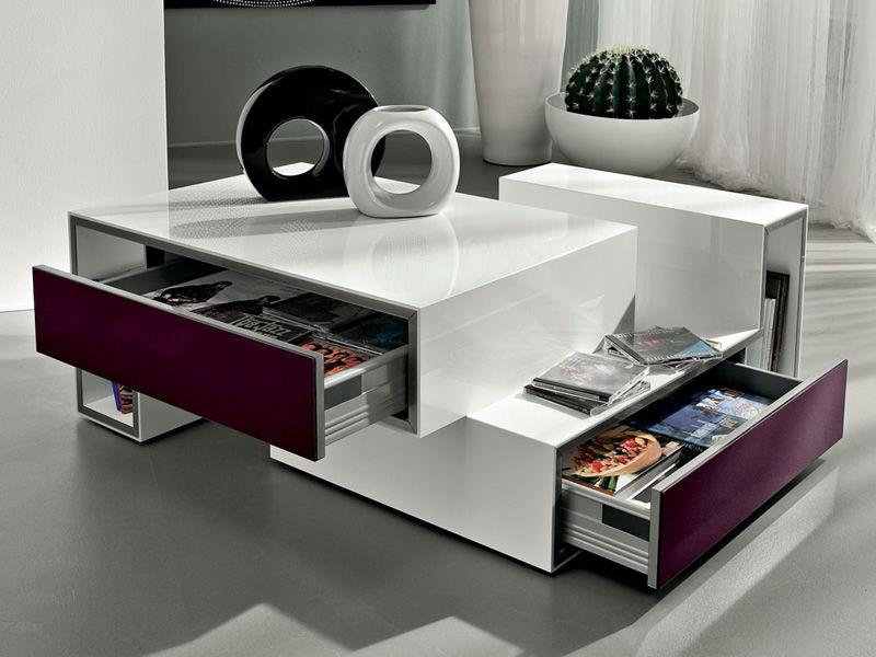 Pa361d table basse en bois laqu avec tiroir sediarreda - Table basse en bois avec tiroir ...