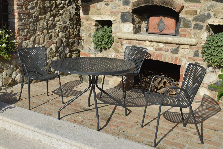 Rig21p sedia in metallo con braccioli impilabile per for Tavoli in metallo per giardino