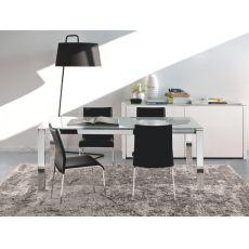 CB4010 130 Baron C - Table Connubia - Calligaris en métal, différentes plateaux disponibles, 130 x 85 cm  à rallonge