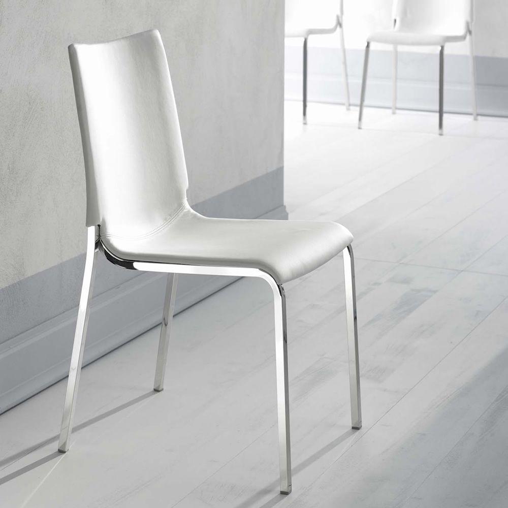 eva soft gepolsterter stuhl bontempi casa aus metall mit verschiedenen bez gen verf gbar. Black Bedroom Furniture Sets. Home Design Ideas