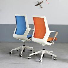 Flo White - Sedia operativa di design per ufficio, schienale in rete, seduta imbottita