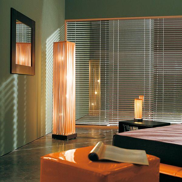 frange lampada di design da terra in cuoio e legno in diversi colori sediarreda. Black Bedroom Furniture Sets. Home Design Ideas