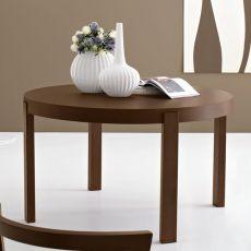 CB398-RD Atelier - Table à rallonge Connubia - Calligaris en bois, plateau ronde diamètre 130 cm