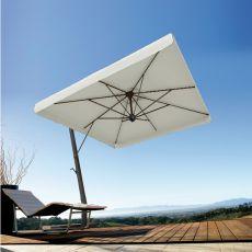 OMB35 - Ombrellone da giardino con braccio laterale in alluminio color antracite, disponibile in diverse dimensioni: quadrato o rettangolare